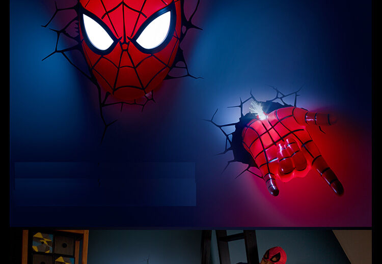 3d Deco Led Night Light Spider Man Mask 3d Hand Wall