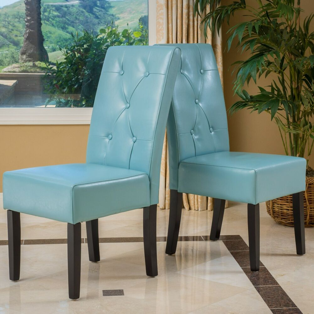 set of 2 dining room teal blue leather dining chairs w button tufted