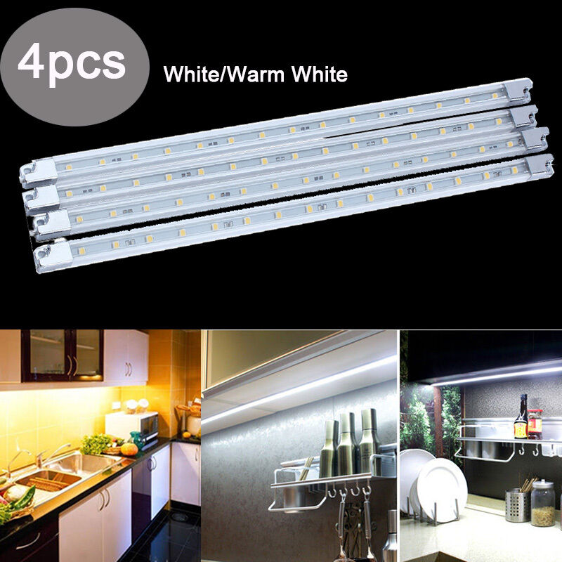 Kitchen Under Cabinet Strip Lighting: 4pcs Kitchen Under Cabinet Counter LED Light Bar Kit Warm
