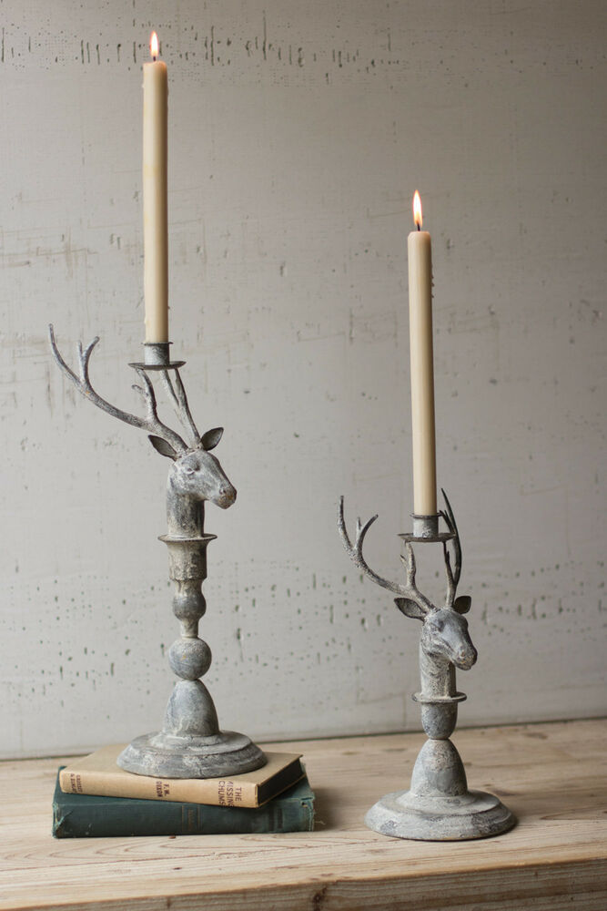 Metal deer taper candle holders rustic cabin lodge decor for Rustic house candles