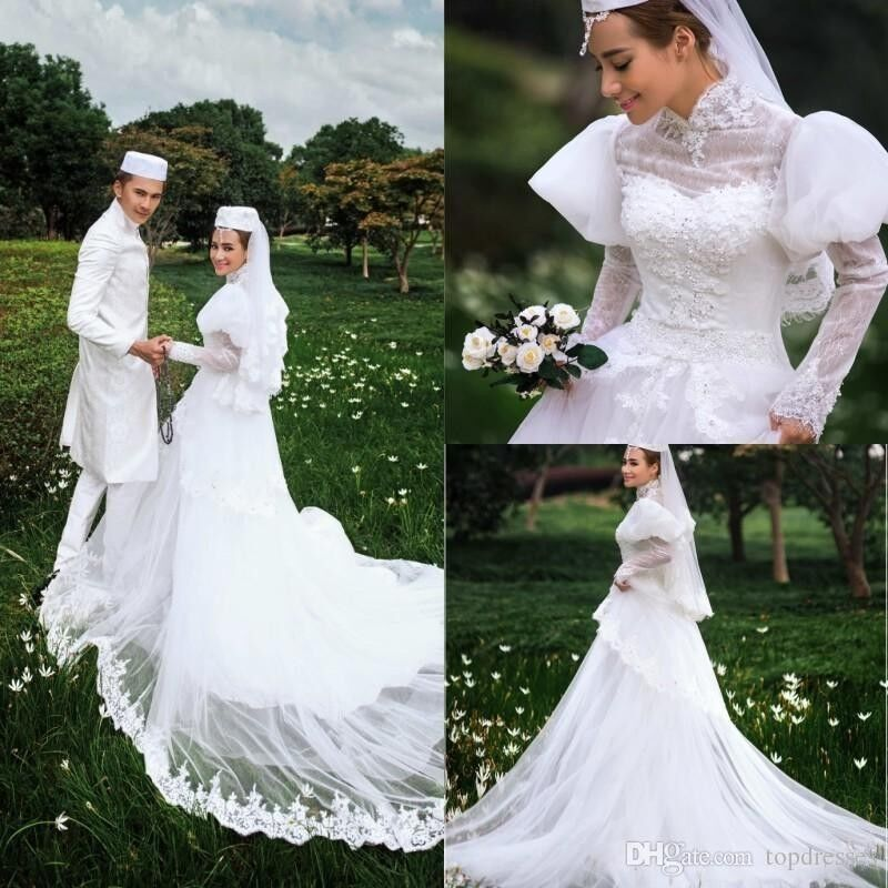 Wedding Gowns A Line Cut : Wedding dress high neck long sleeve lace style a line luxury bridal
