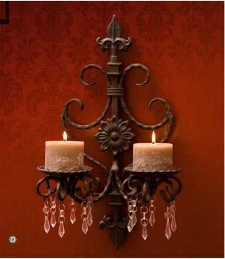 Country Wall Sconce Candle Holder : French Country Wrought Iron Beaded/Jeweled Fleur De Lis Candle Sconce eBay