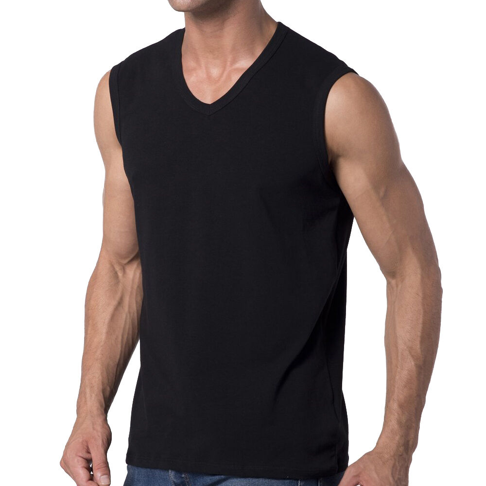 Mens Loose Fit V Neck T Shirt Tank Tops Sleeveless Tee