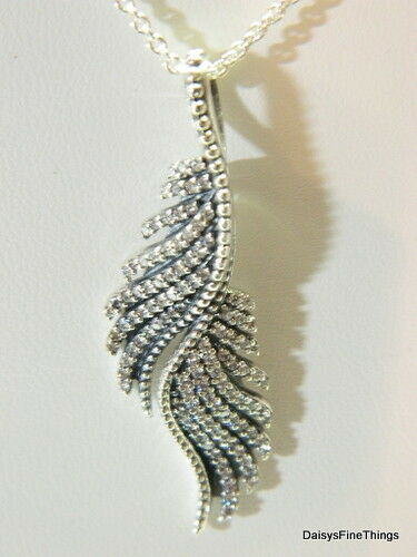 New Authentic Pandora Silver Majestic Feathers Necklace