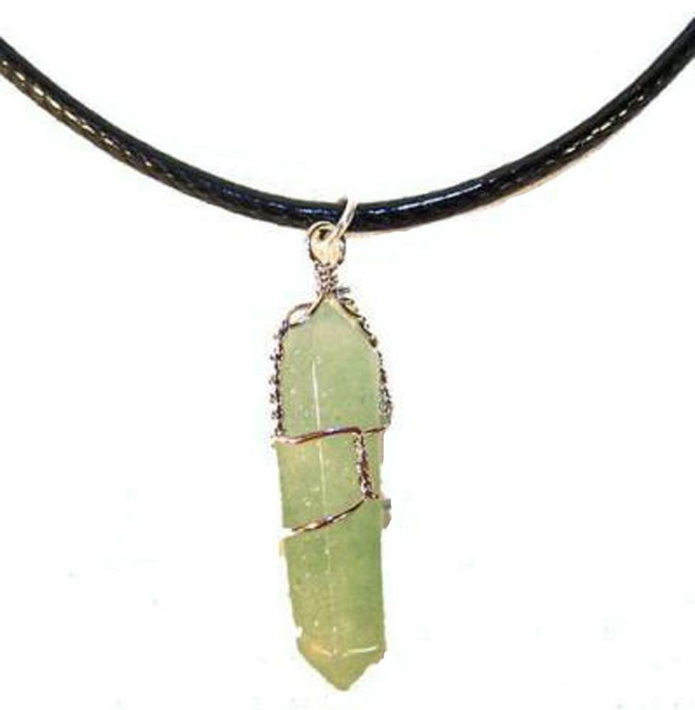 Wire wrapped green jade stone pendant on black rope for How to make rock jewelry