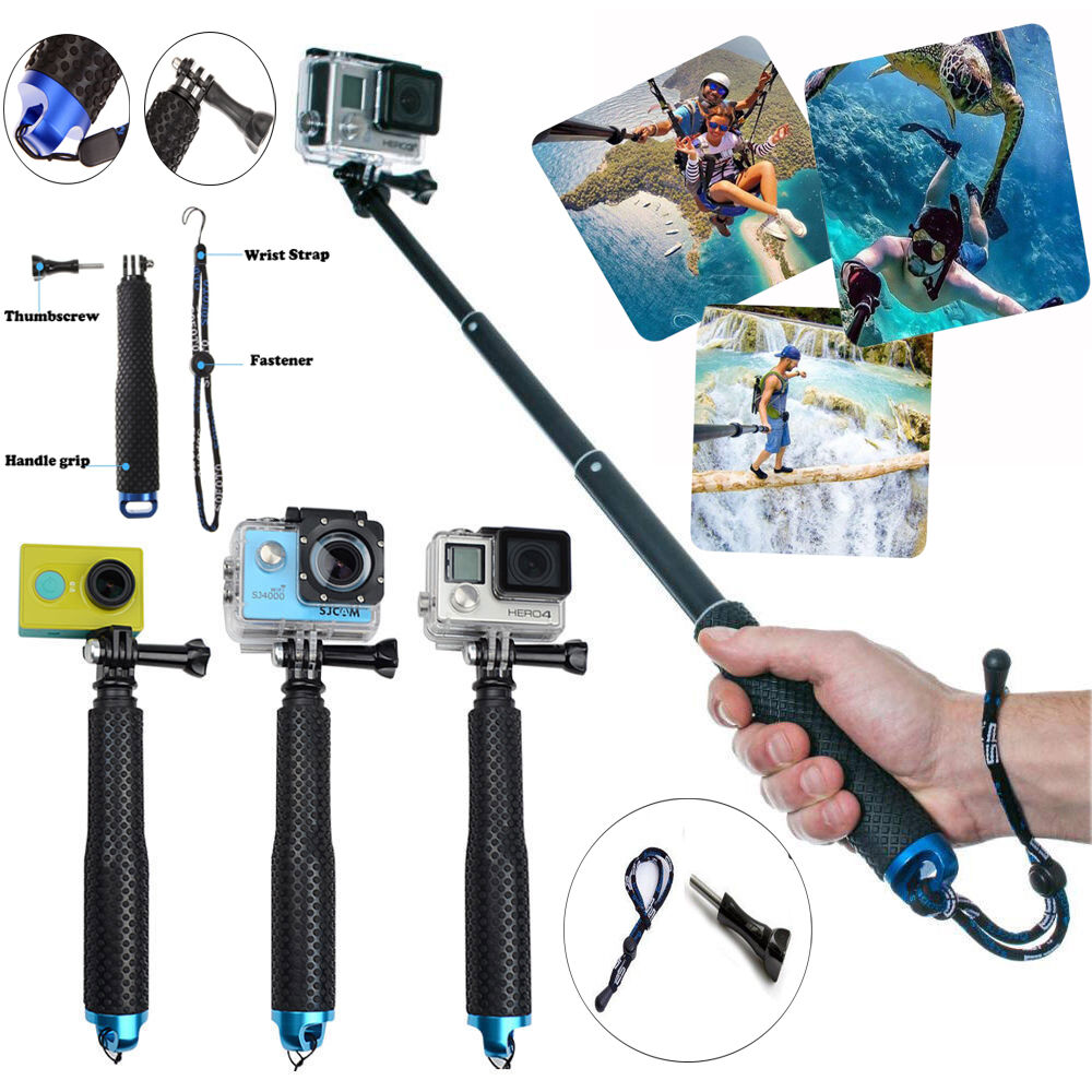 waterproof tripod selfie stick pole handheld monopod for gopro hero 5 4 3 3 2 1 ebay. Black Bedroom Furniture Sets. Home Design Ideas