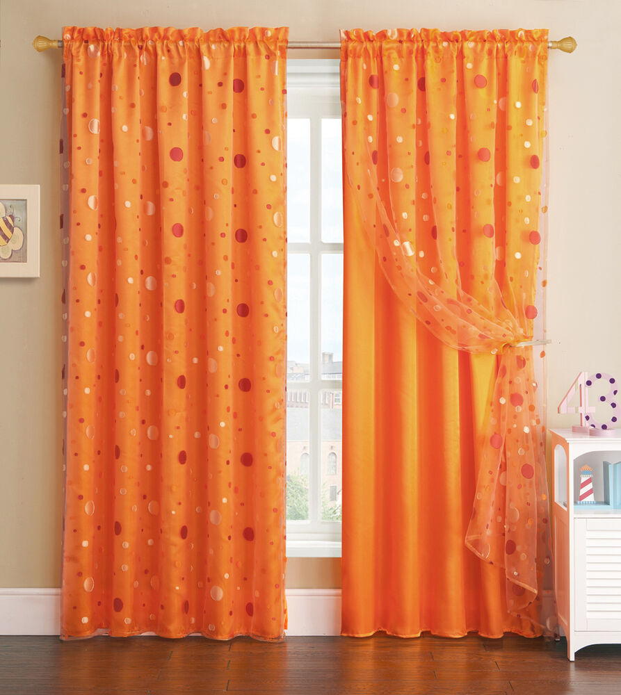 Orange window curtain panel with circle design sheer top for Window panel design