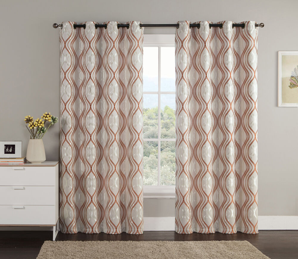 Jacquard window curtain panel cinnamon taupe metallic for Window panel design