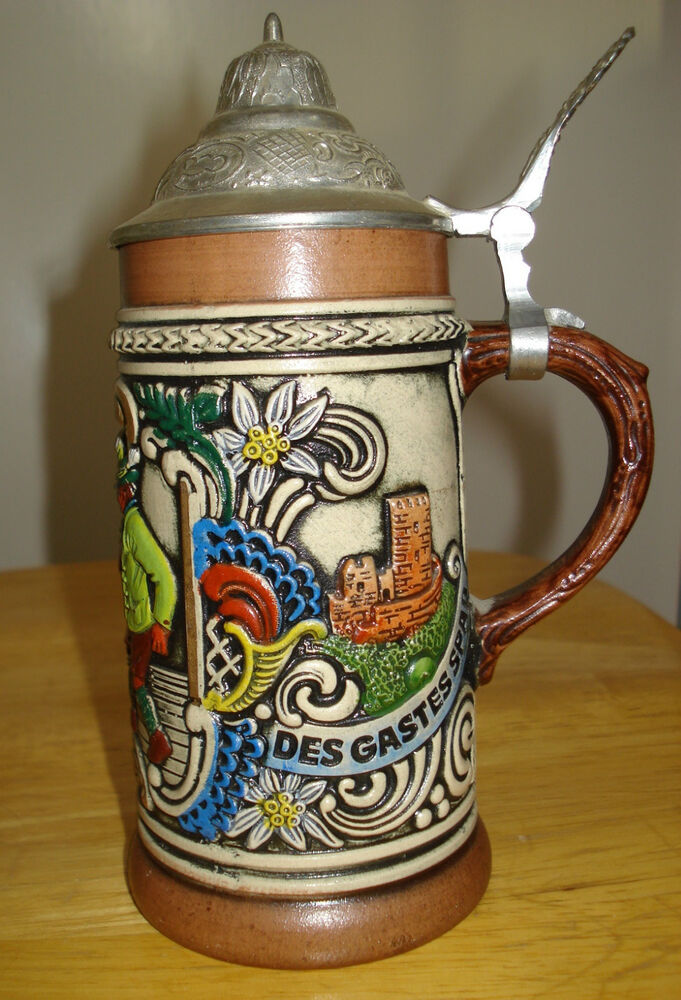 VINTAGE WESTERWALD SALT GLAZED DECORATIVE GERMAN BEER ... |Vintage West Germany Beer Steins