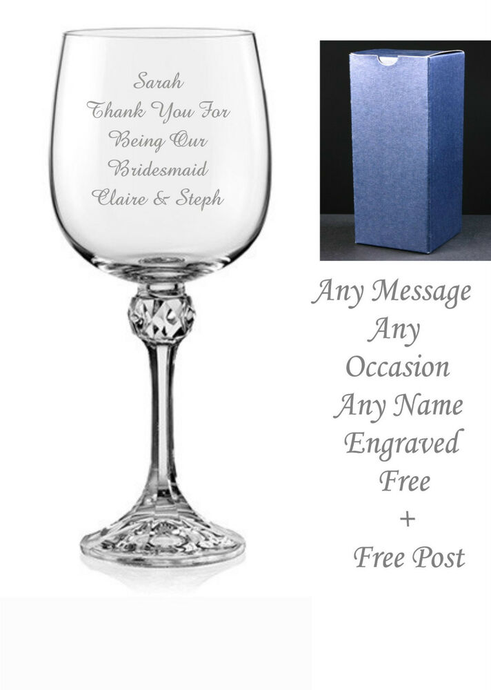 Personalised engraved crystal wine glass wedding gifts for Etched glass wedding gifts