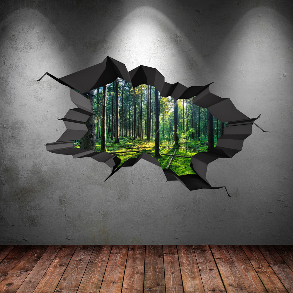 full colour woods forest trees jungle cracked 3d wall art sticker decal wsdfc47 ebay. Black Bedroom Furniture Sets. Home Design Ideas
