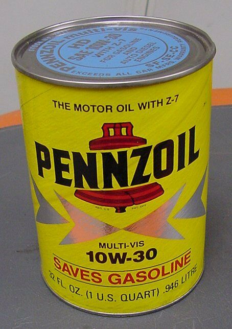 Vintage pennzoil quart oil can automobilia no rust for What is hd 30 motor oil