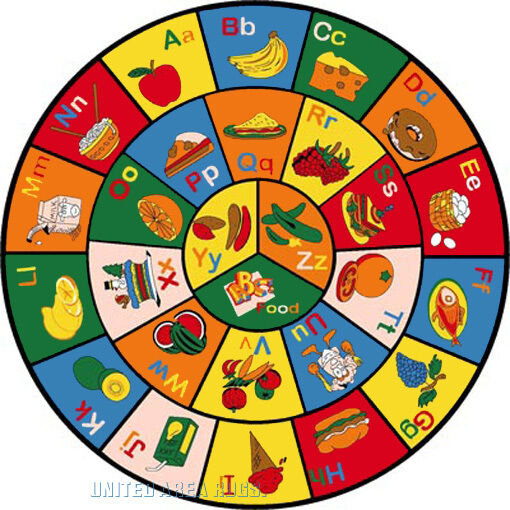 8x8 Round Rug Educational Rug ABC Food Fruit & Letters