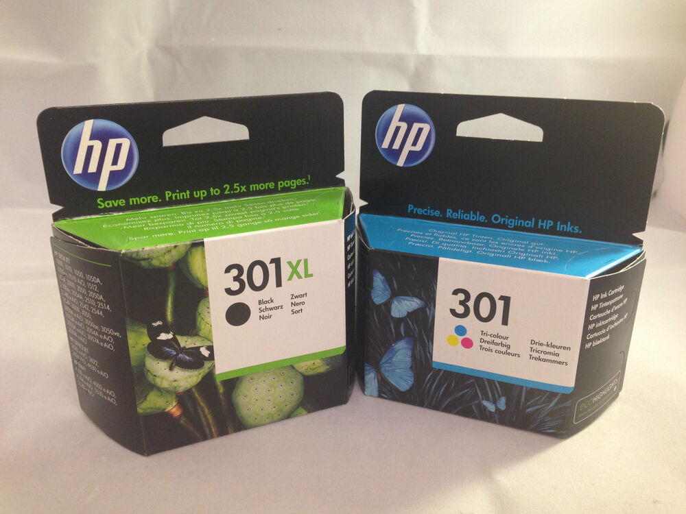 genuine hp 301xl black hp301 tricolour twin pack ink cartridges original new ebay. Black Bedroom Furniture Sets. Home Design Ideas