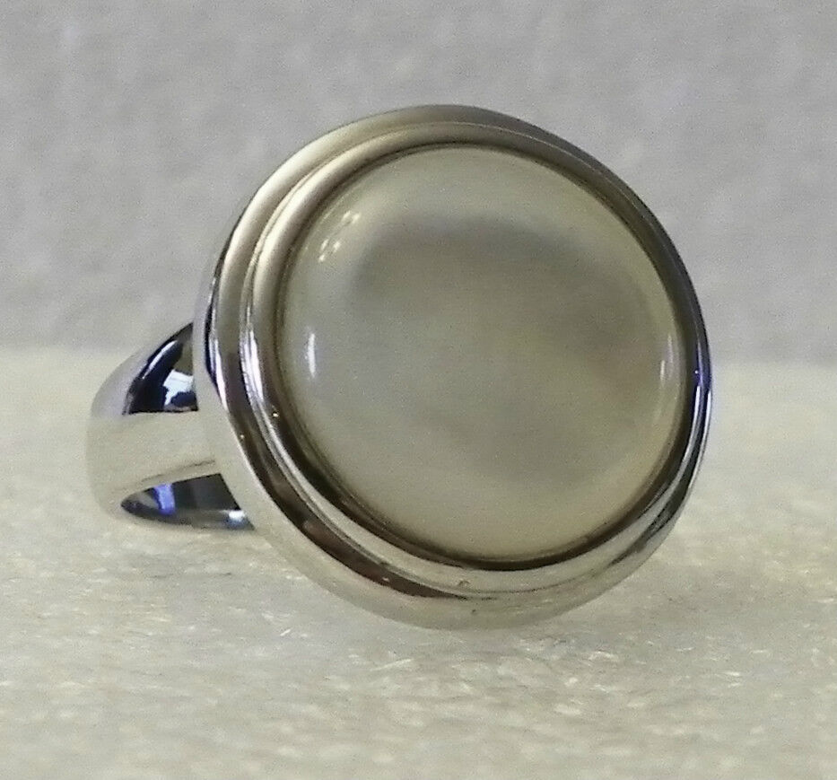 Sterling Silver 14mm Round Mother Of Pearl Ring Sz 7 Ebay