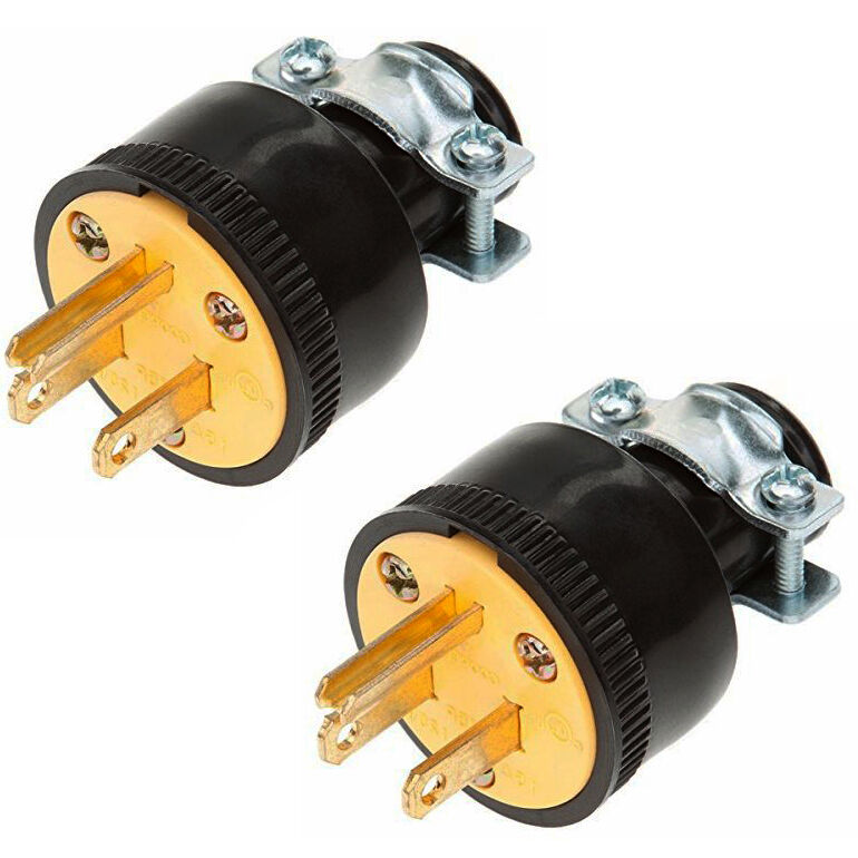 2pc Heavy Duty 3-Prong Male Extension Cord Electrical Plug ...