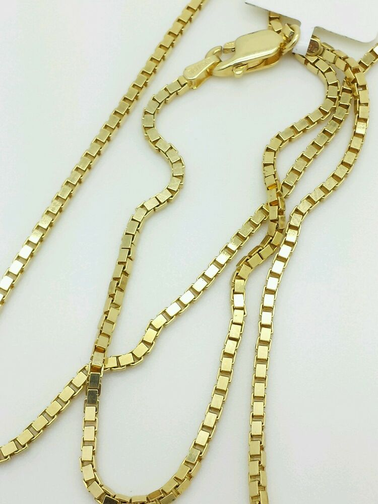 14k Solid Yellow Gold Box Link Necklace Pendant Chain 30 Quot 1 6mm Ebay