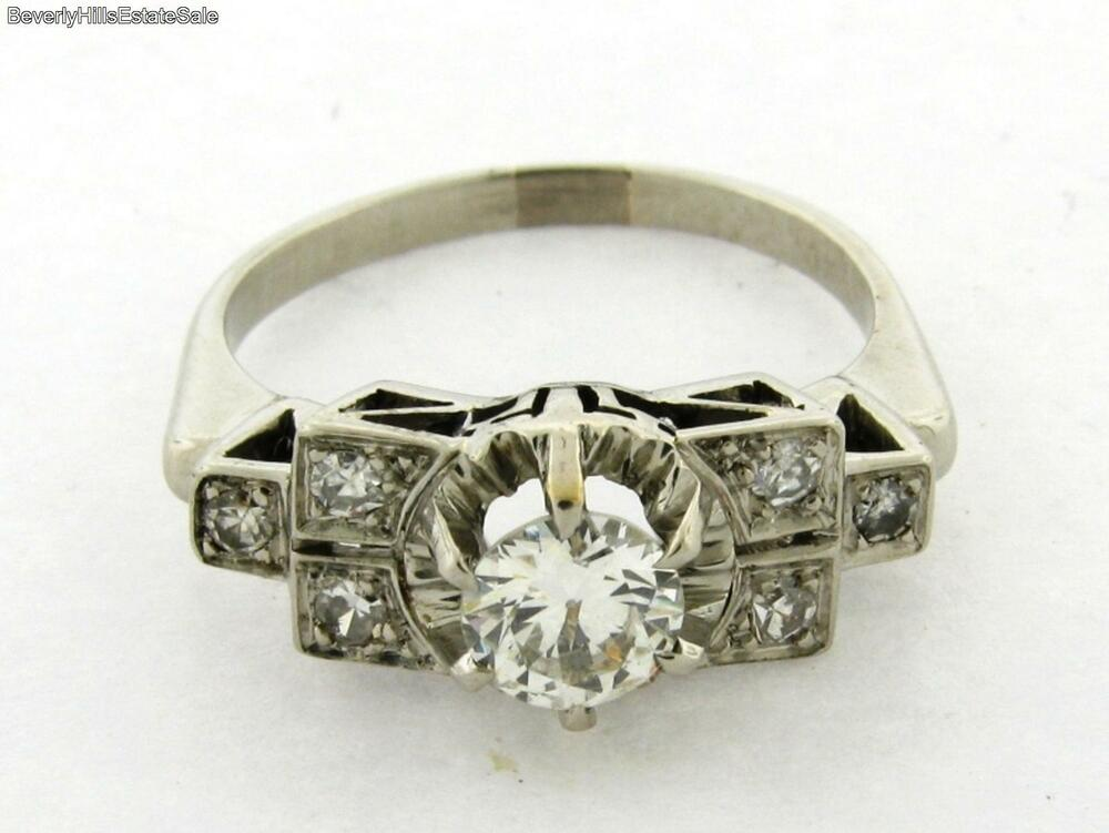 antique art deco diamond platinum 60 carat bar design ring ebay. Black Bedroom Furniture Sets. Home Design Ideas