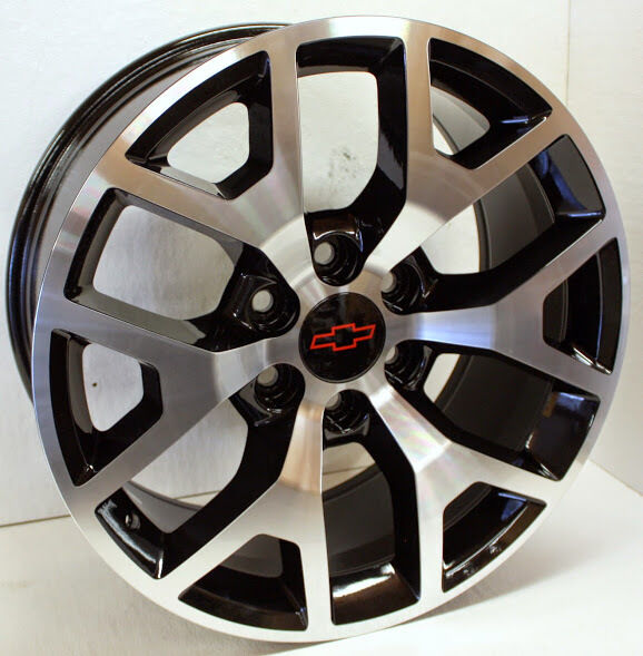 new 22 inch chevy black and machined wheels rims silverado avalanche set of 4 ebay. Black Bedroom Furniture Sets. Home Design Ideas