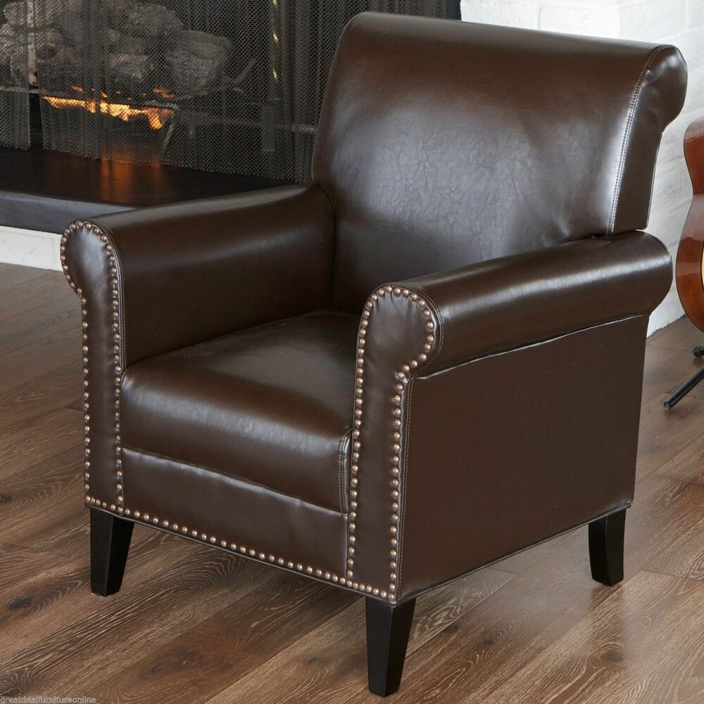 Contemporary Brown Leather Storage Club Chair w Studded  : s l1000 from www.ebay.com size 1000 x 1000 jpeg 134kB