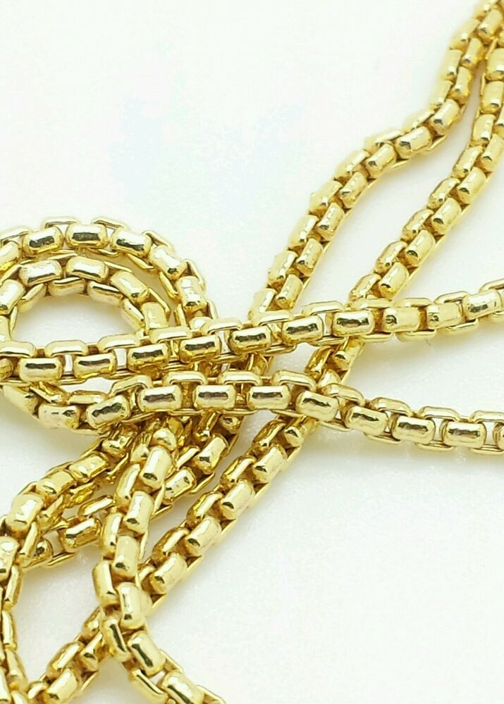 14k yellow gold round box link necklace pendant chain 18. Black Bedroom Furniture Sets. Home Design Ideas