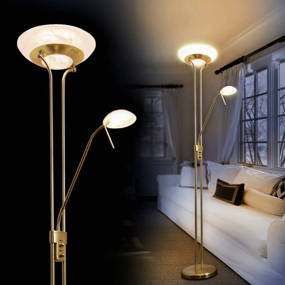 led deckenfluter design stehleuchte messing standlampe bodenleuchte mit dimmer ebay. Black Bedroom Furniture Sets. Home Design Ideas