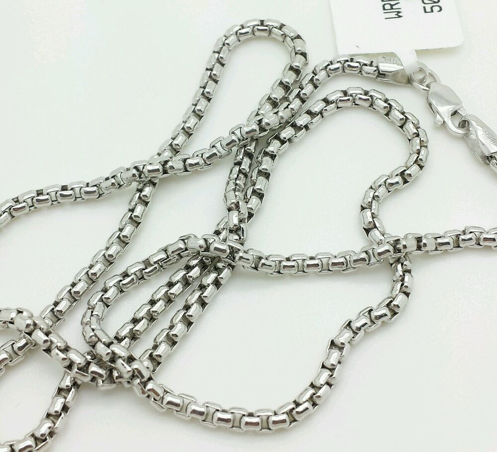 "White Gold Chain Bracelet: 14k White Gold Round Box Link Necklace Pendant Chain 20"" 2"
