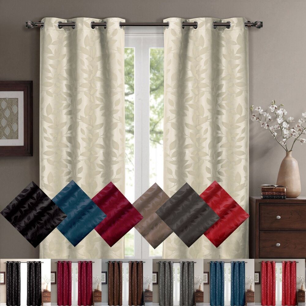 ... Blackout Weave Embossed Curtains 37 x 63 inches Pair Panels | eBay