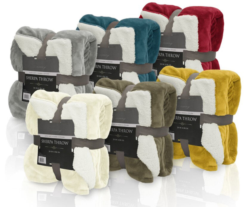 Ivory reversible sherpa plush fleece throw blanket soft for Soft blankets and throws
