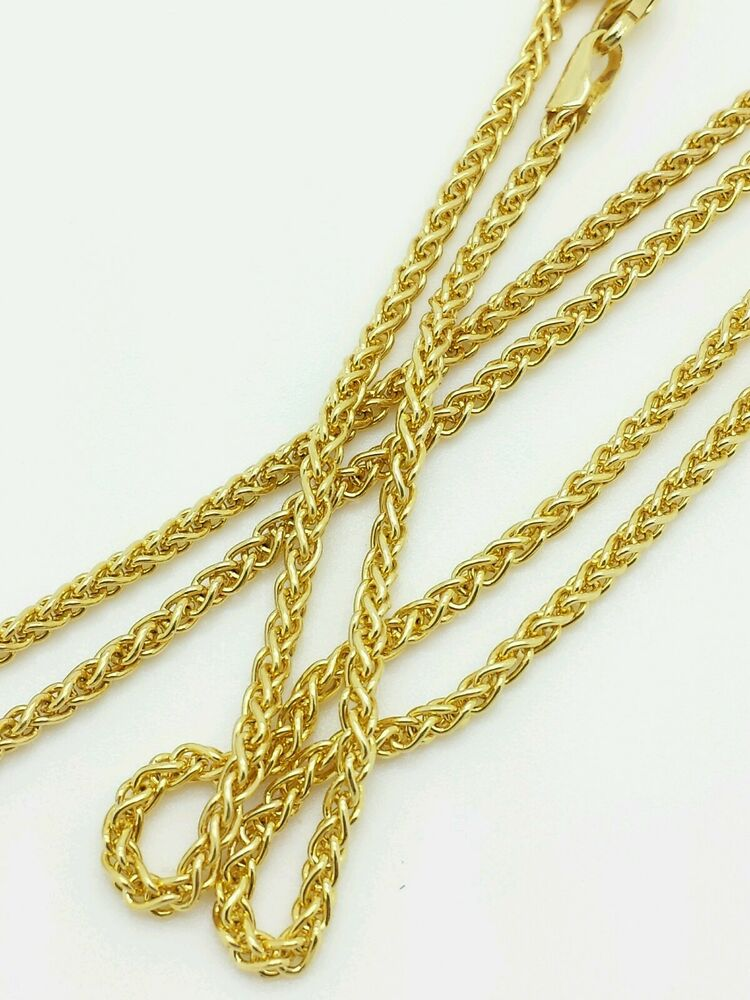 14k yellow gold round wheat necklace pendant chain 30 2. Black Bedroom Furniture Sets. Home Design Ideas