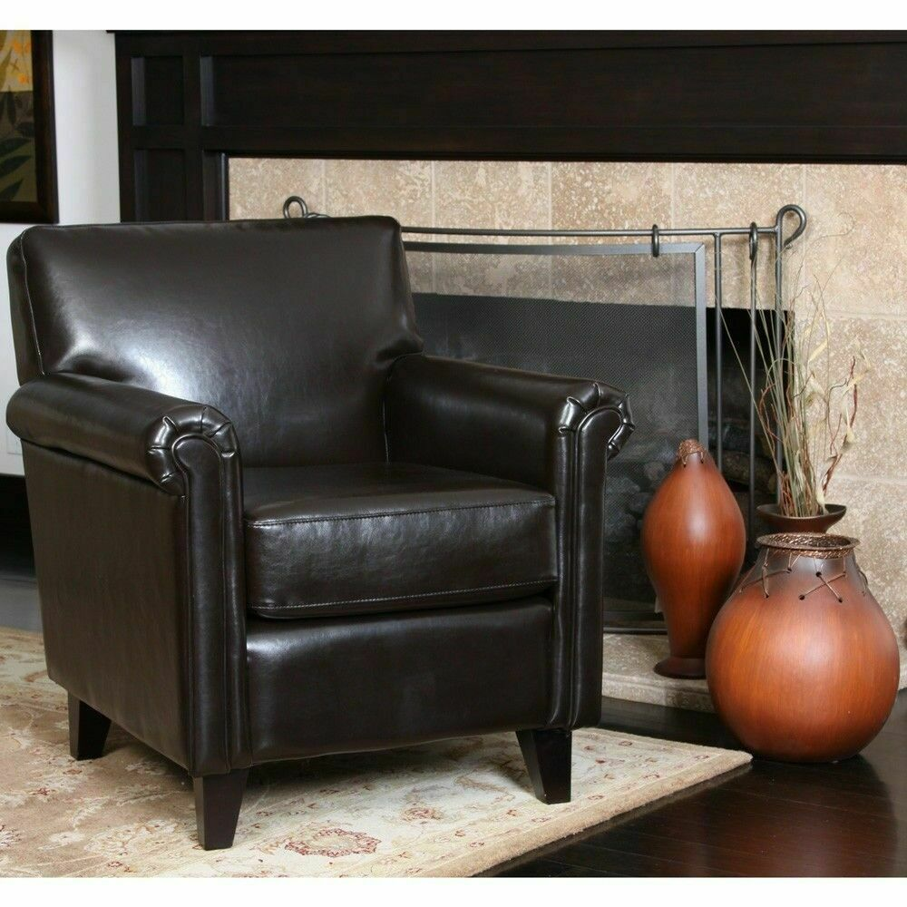Elegant design brown leather club chair w rolled arms ebay for Chair design leather