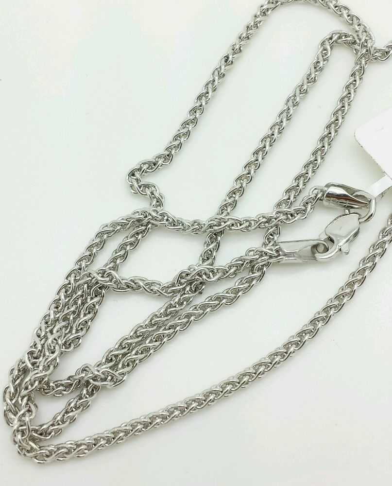 14k white gold round wheat necklace pendant chain 20 2. Black Bedroom Furniture Sets. Home Design Ideas