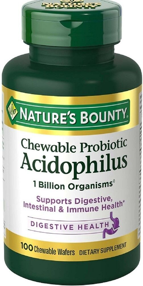 Nature S Bounty Probiotic Acidophilus With Bifidus Chewable Wafers  Tablets