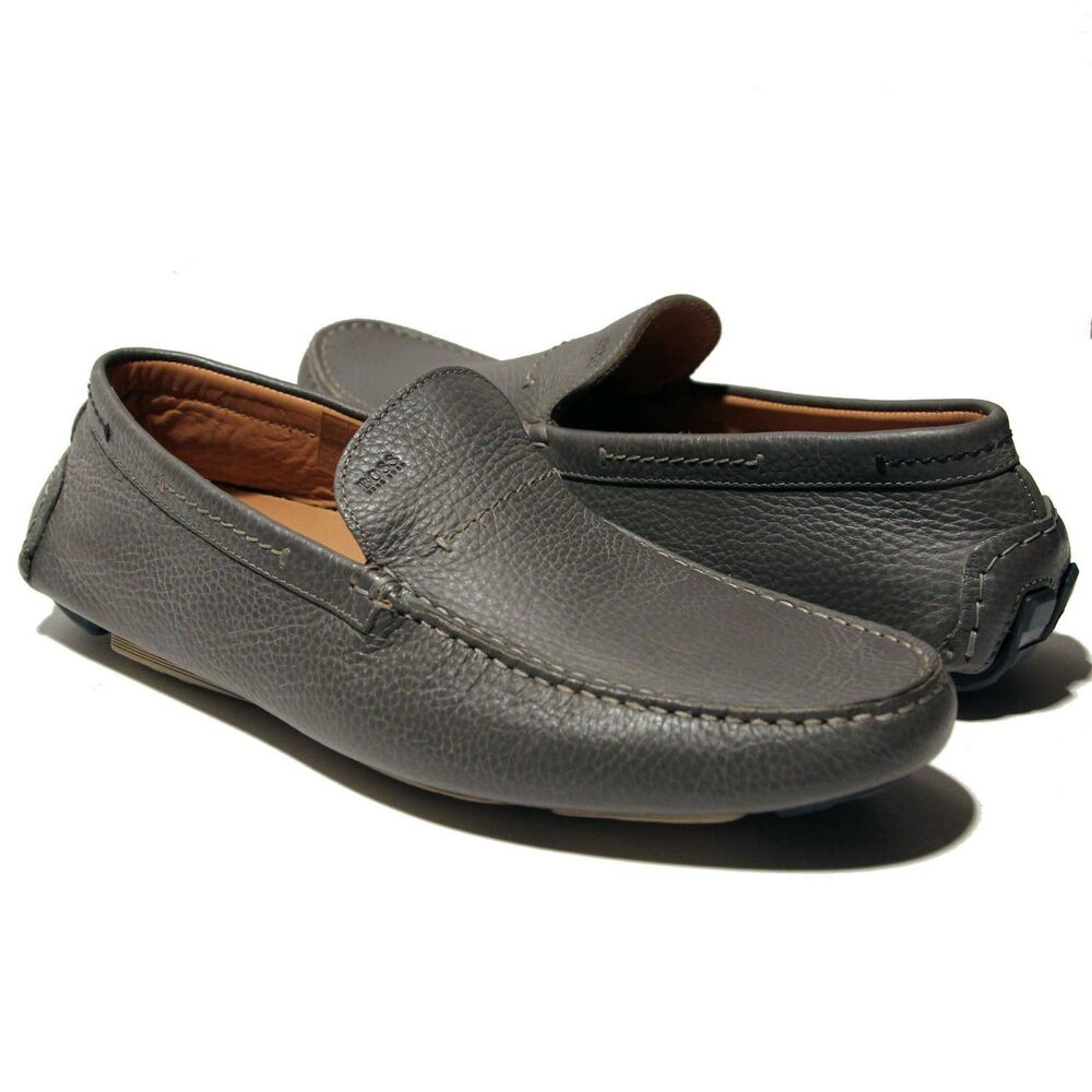 hugo grey leather drinno loafers dress shoes 9 42