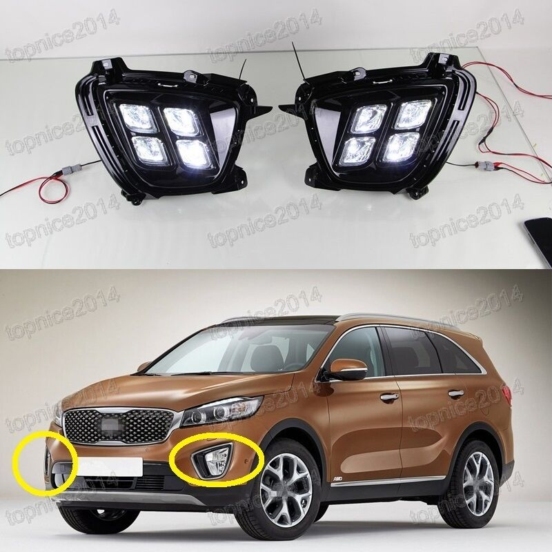 2017 Kia Sportage Transmission: White LED Daytime Running Lights DRL Fog Lamps Kits For