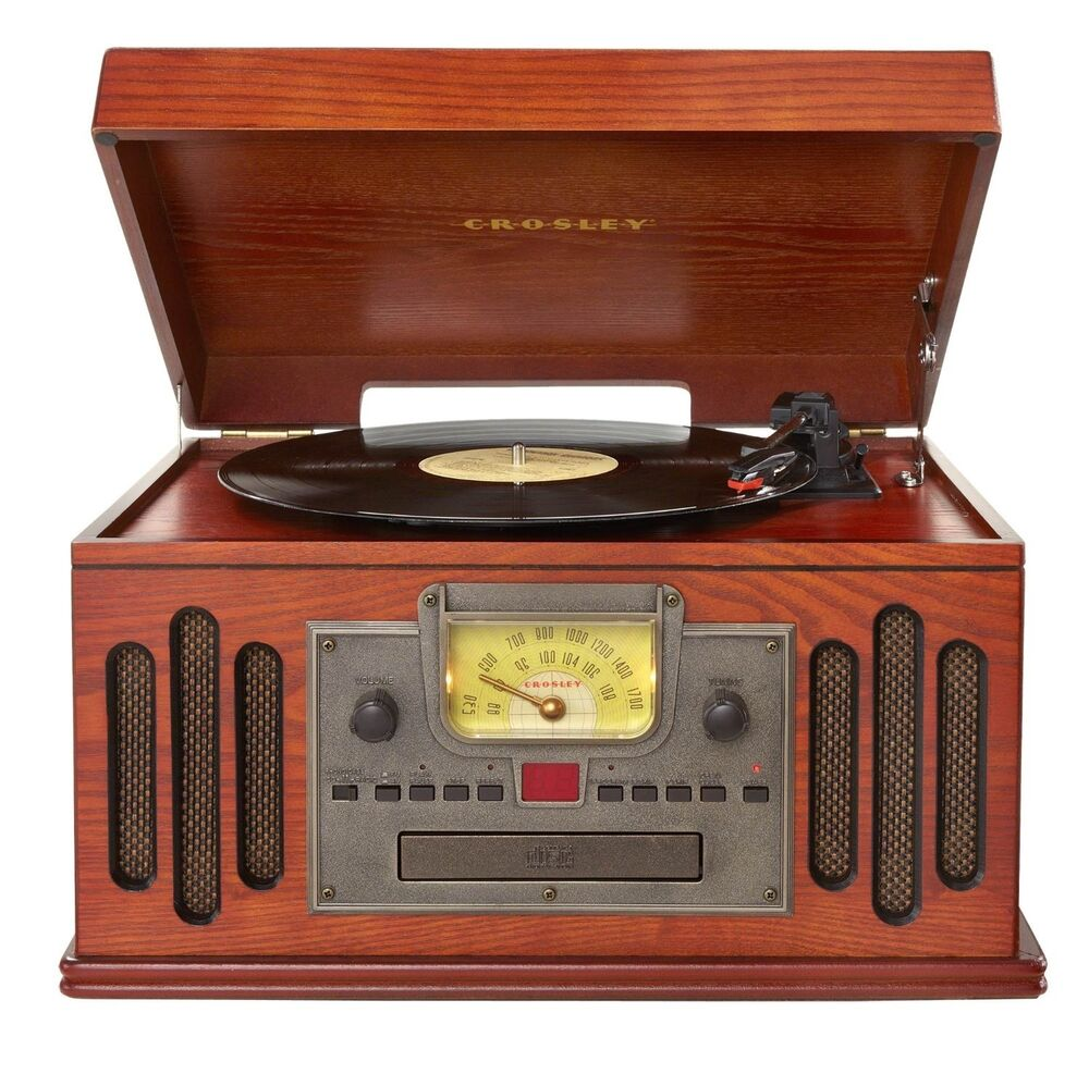 crosley cd cassette am fm radio 3 speed record player turntable speakers system ebay. Black Bedroom Furniture Sets. Home Design Ideas