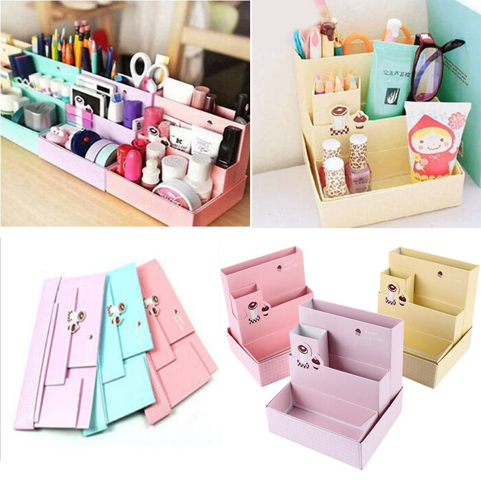 Cute paper board storage box desk decor stationery makeup cosmetic organizer diy ebay