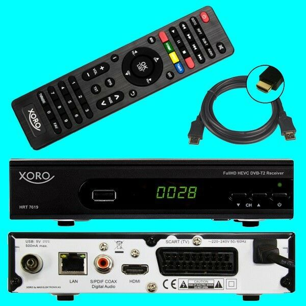 hd dvb t2 receiver xoro hrt 7619 hevc usb hdtv lan dvb t 2 ebay. Black Bedroom Furniture Sets. Home Design Ideas