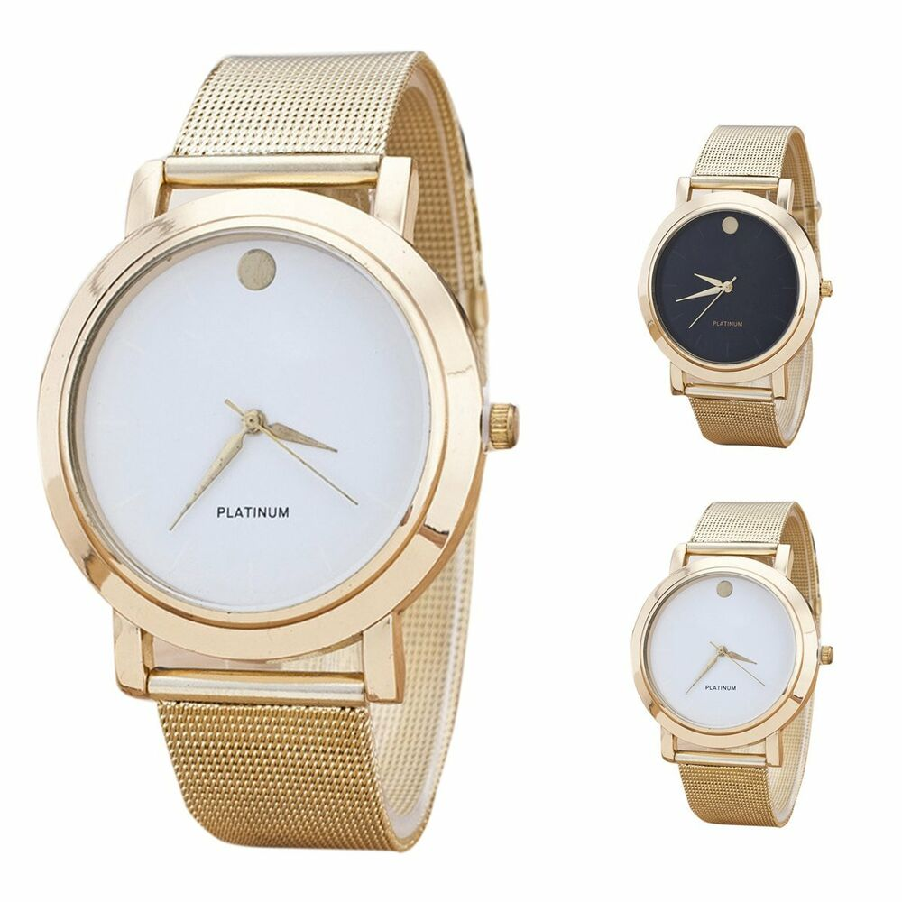 Elegant Mens Women Gold Stainless Steel Band Watch Wrist ...