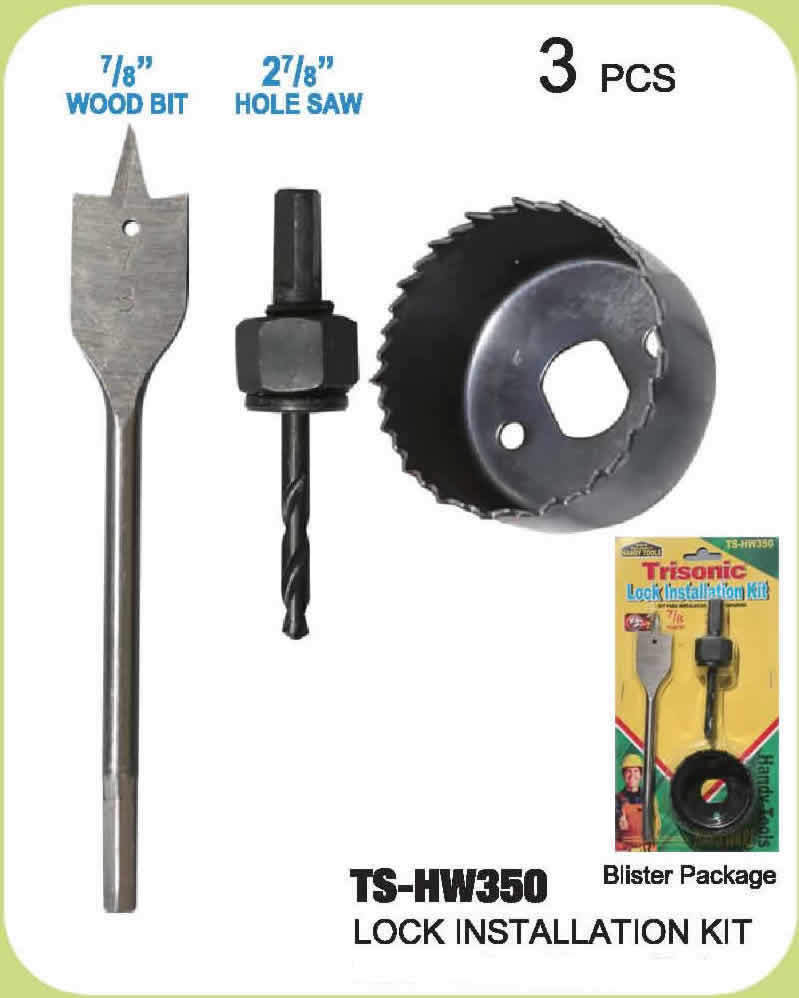 3pc Door Lock Installation Hole Saw Kit Carbon Steel Wood