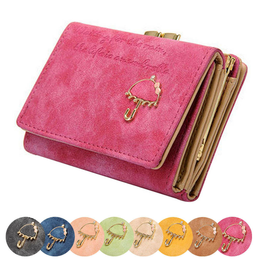 Women Lady Umbrella Leather Wallets Button Clutch Purse ...