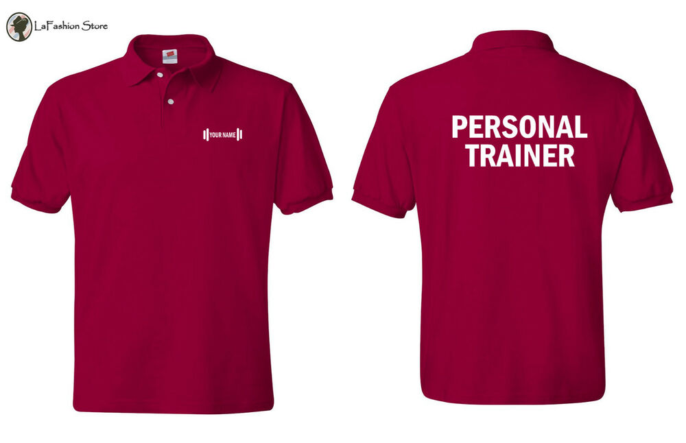 Personal trainer fitness polo shirts with custom name on for Custom personal trainer shirts