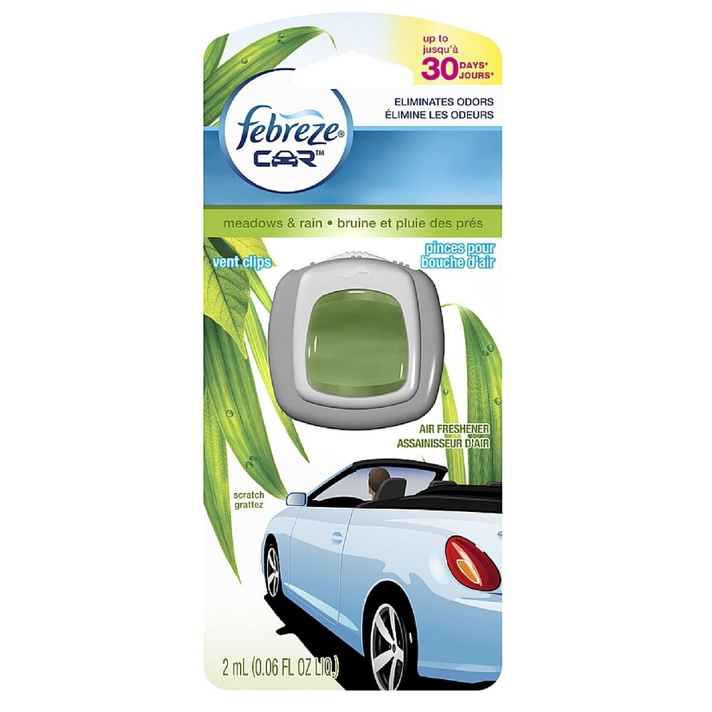 Febreze Car Vent Clips Air Freshener Odor Eliminator New: Febreze Car Vent Clip Air Freshener, Meadows