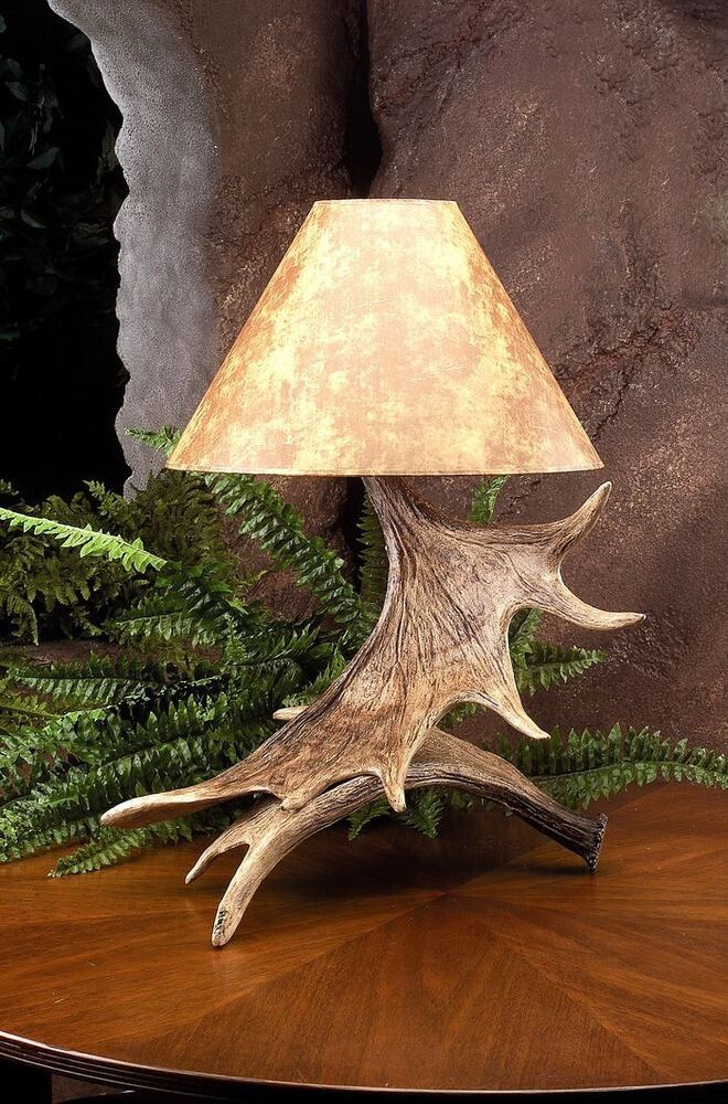New Moose Paddle Antler Table Lamp Rustic Antlers Decor