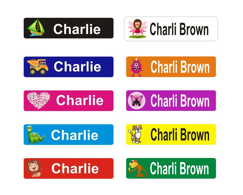 Personalised Kids Name Labels Stickers Book Tags School