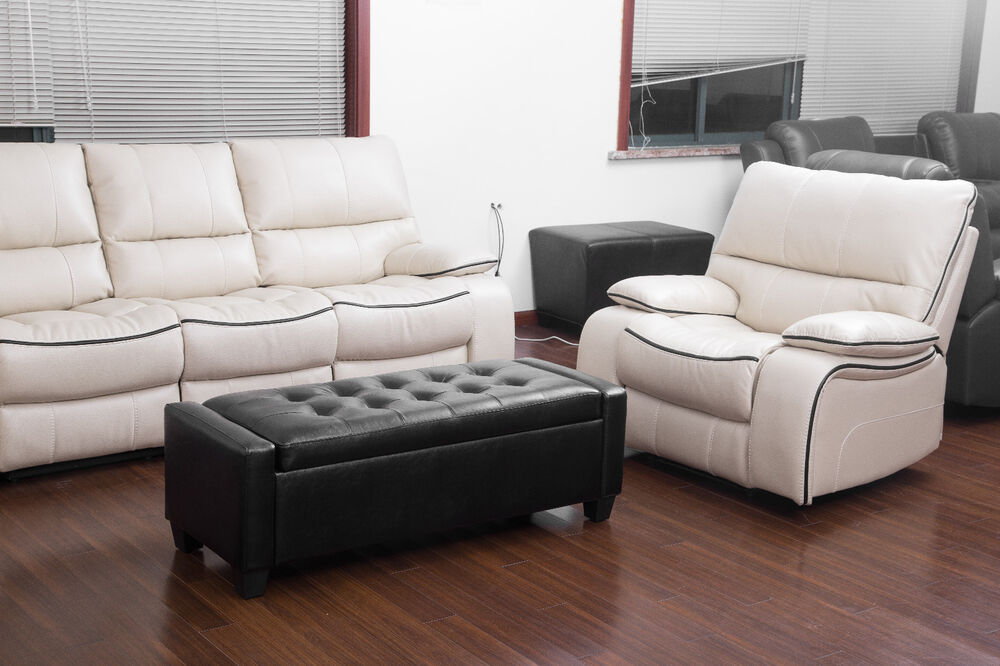 Faux Leather Storage Ottoman Bench Coffee Table Seat Foot Stool Top Furniture Ebay