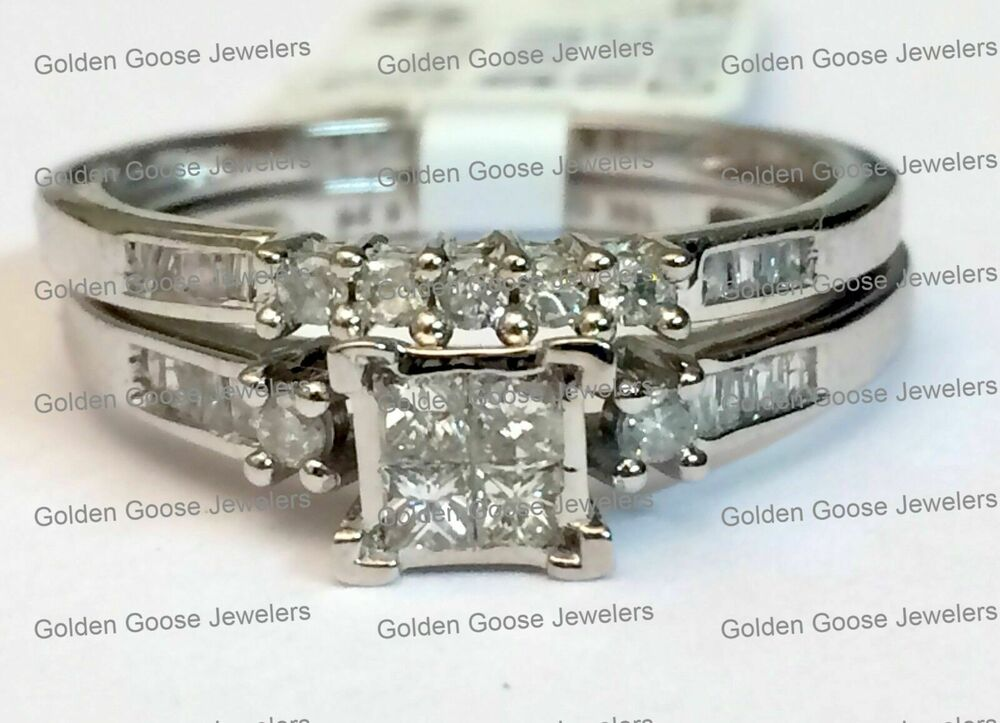 10k white gold quad princess cut diamond bridal wedding for Ebay diamond wedding ring sets