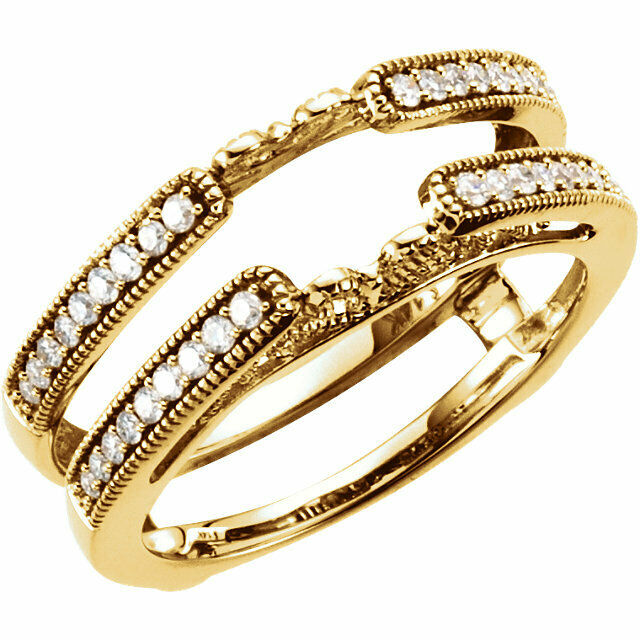 14k Real Yellow Gold 25ct Diamonds Solitaire Ring Guard