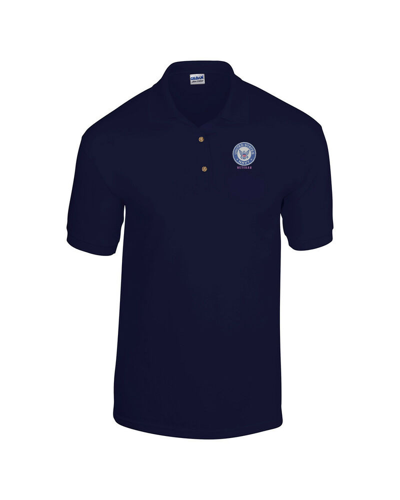 Us navy veteran logo embroidered us military navy blue for Polo shirts with logos