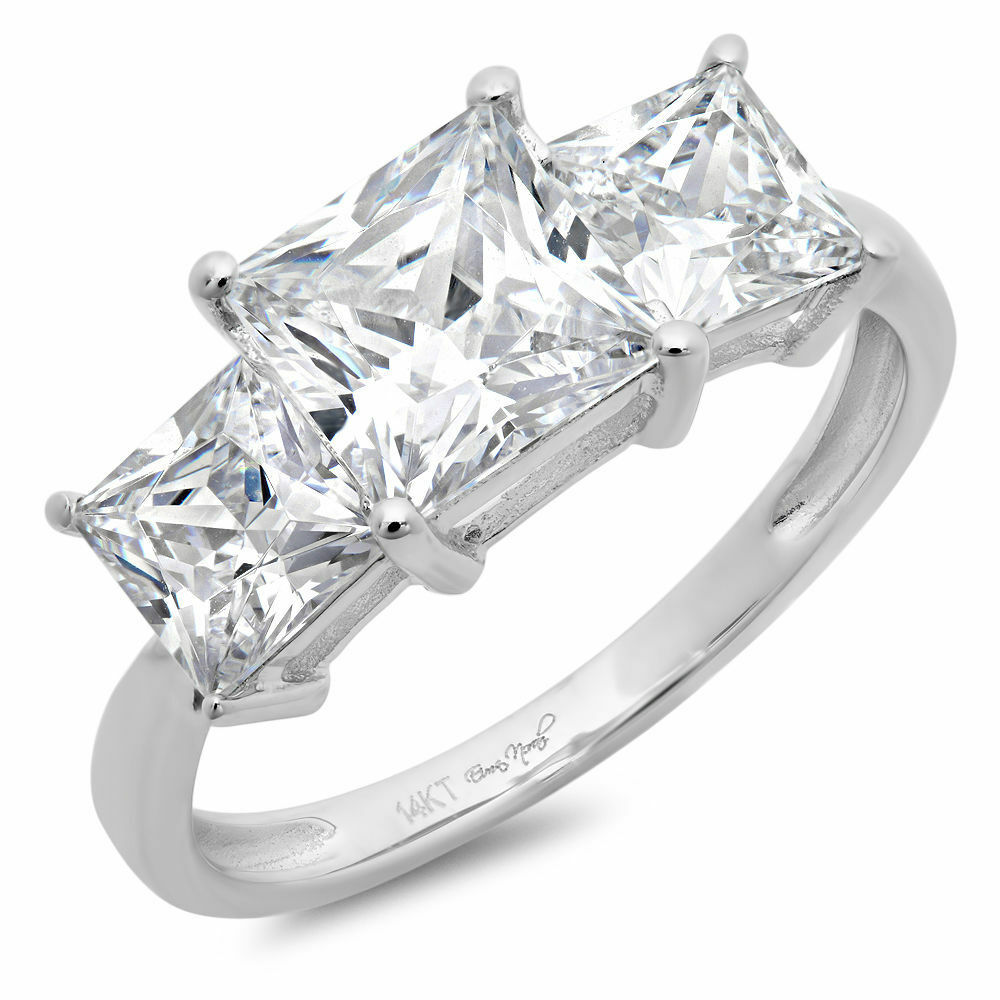 3 25 ct three princess cut ring engagement wedding